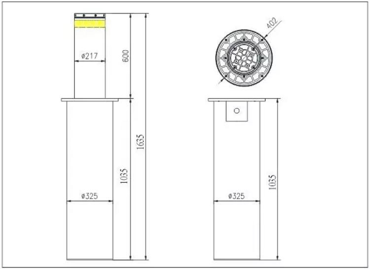 Kích thước cổng bollard tự động