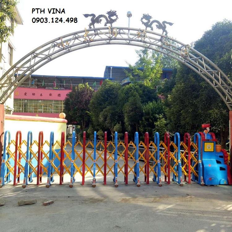 Cổng xếp tự động cho trường học