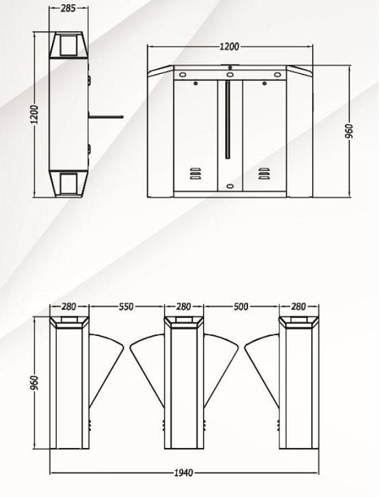 Kích thước cổng flap barrier