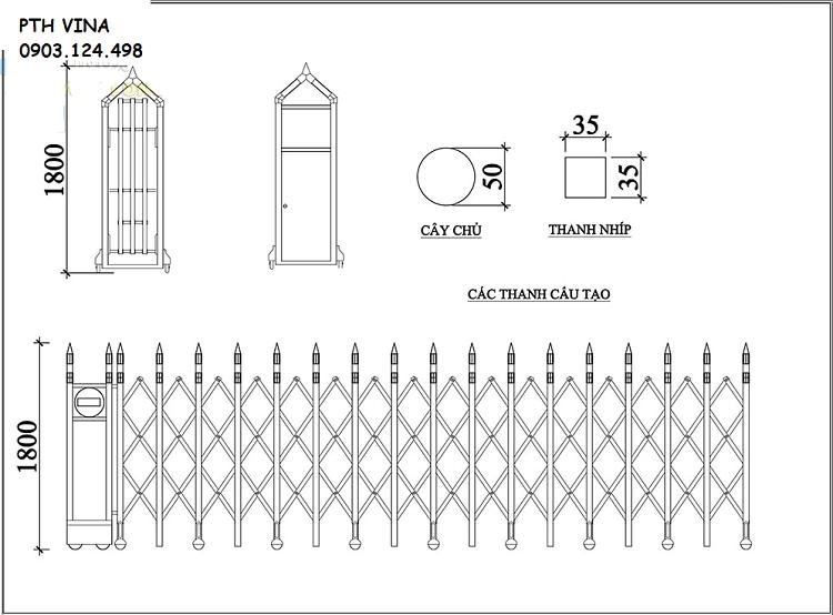 Kích thước chi tiết cổng xếp inox tự động PT-03