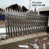 cổng xếp inox chạy điện