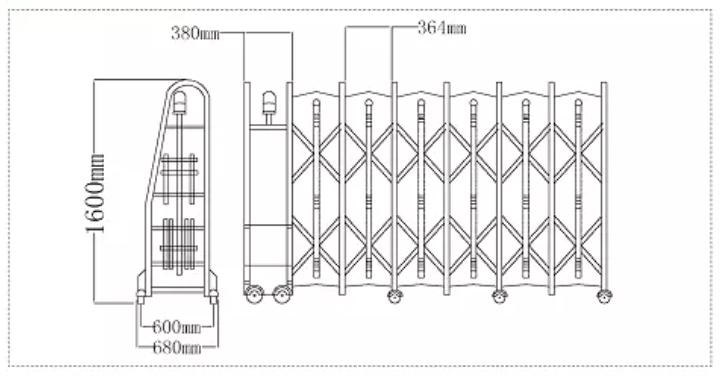 Kích thước cổng xếp inox tự động